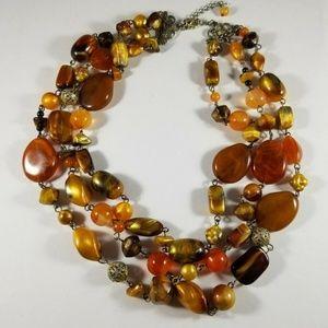 Triple Strand Brown Orange Gold Tone Bead Necklace